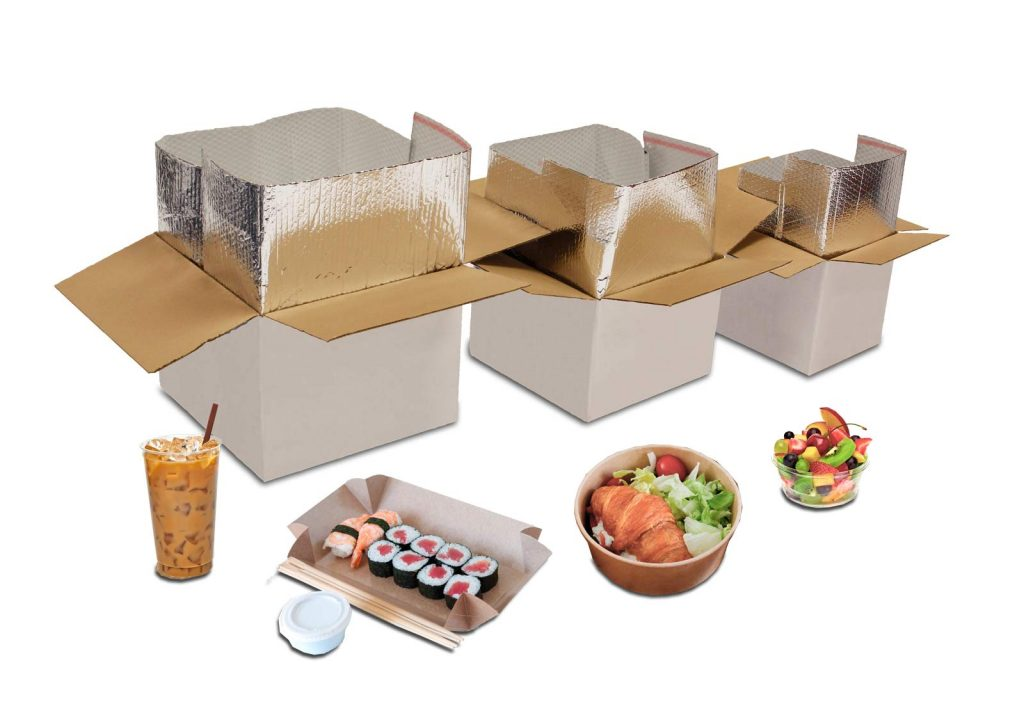 Chilled food delivery boxes for sushi, meat and drinks